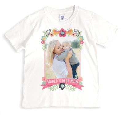 Worlds Best Mum Floral Border Custom Photo Upload T-Shirt