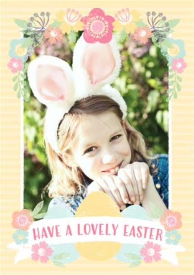 Yellow Striped Happy Easter Photo Card