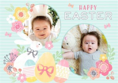 Aqua Striped Egg And Flower Happy Easter Photo Card