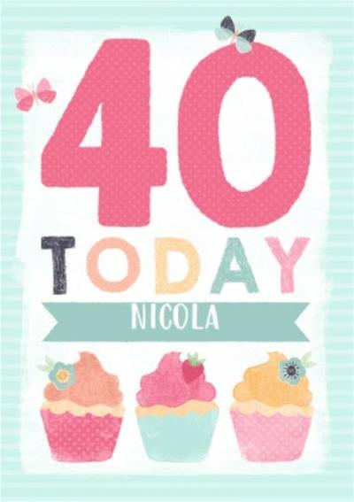 Colourful Cupcakes Happy 40Th Birthday Personalised Name Card