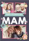 Flowers And Stripes Happy Mother's Day Mam Photo Mother's Day Card