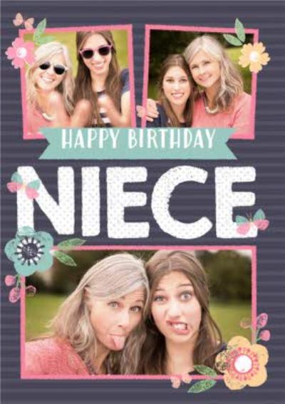 Stripes And Flowers Multi-Photo Happy Birthday Card - Niece
