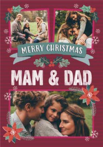 Folk Flowers Photo Upload Christmas Card Merry Christmas Mam And Dad