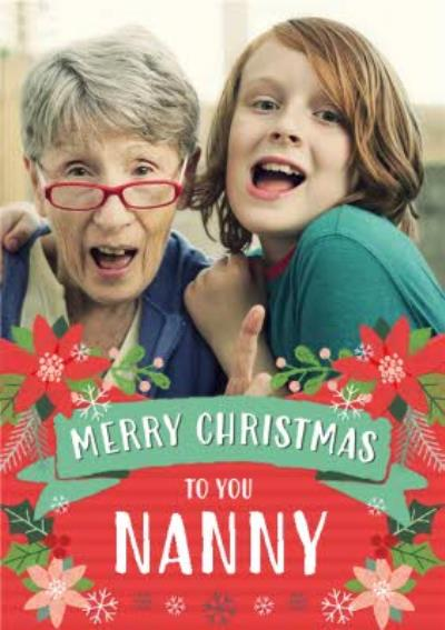 Folk Flowers Photo Upload Christmas Card Merry Christmas To You Nanny