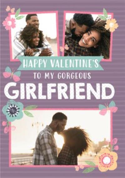 Pastel Flowers Photo Upload Personalised Valentine's Day Girlfriend Card