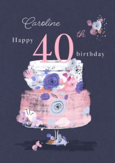 Trendy Floral Birthday card Happy 40th Birthday