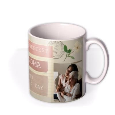 To The Sweetest Grandma Photo upload Mother's Day  Mug