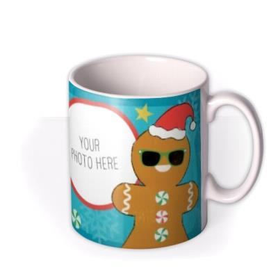 Christmas Gingerbread Man Photo Upload Mug