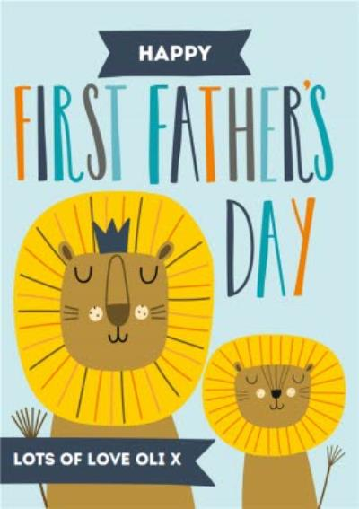 Cute Lions Happy First Father's Day Card