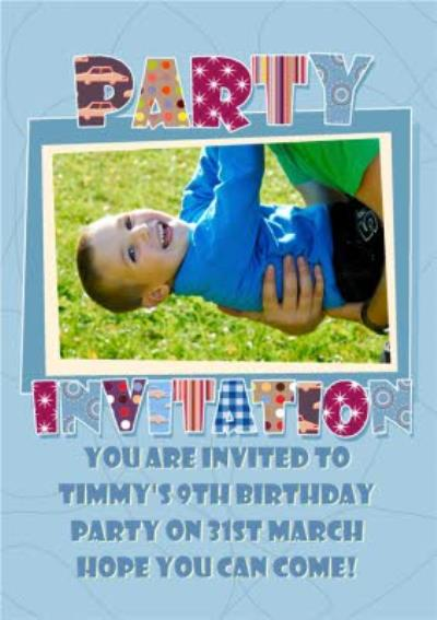 Little Boy's Personalised Photo Upload Party Invitation Card