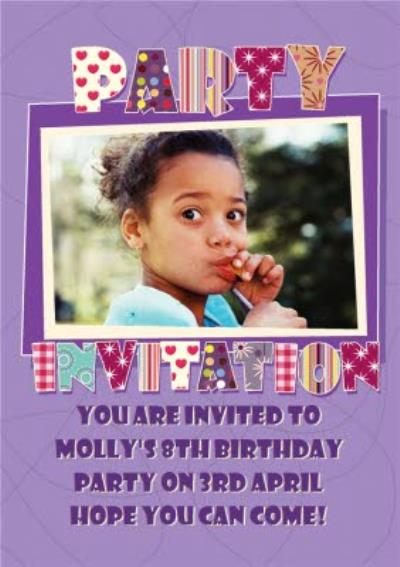 Purple Patterned Lettering Personalised Photo Upload Children's Party Invitation Card