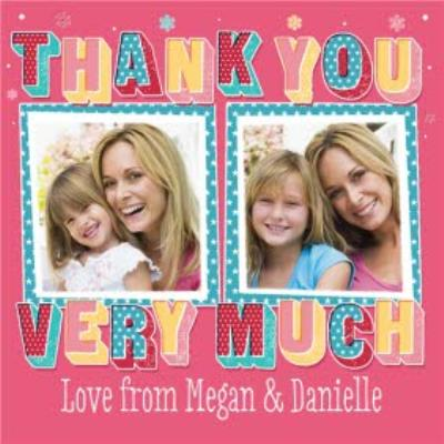 Bright And Bold Personalised Double Photo Upload Thank You Card