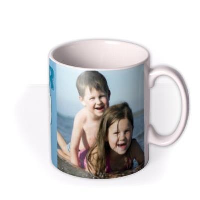 Dad Birthday Blue Photo Upload Mug