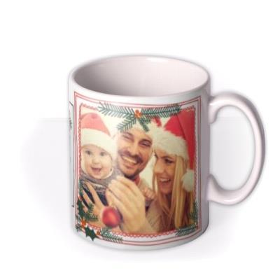 Merry Christmas Baby's First 3 Photo Upload Mug