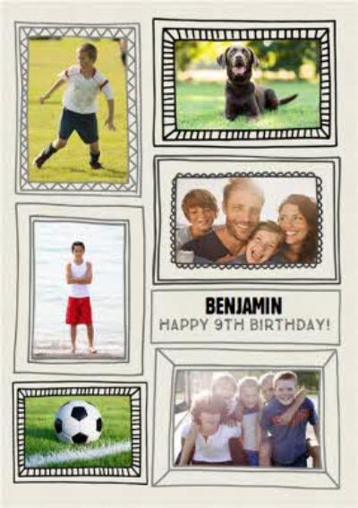 Sketched Frames Birthday Photo Upload Card