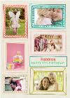 Colourful Sketched Frames Birthday Photo Upload Card