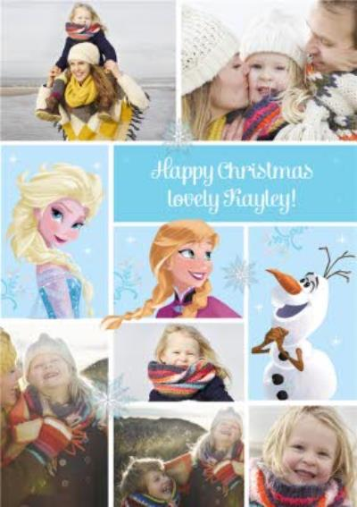 Disney Frozen Elsa, Anna And Olaf Personalised Photo Upload Happy Christmas Card