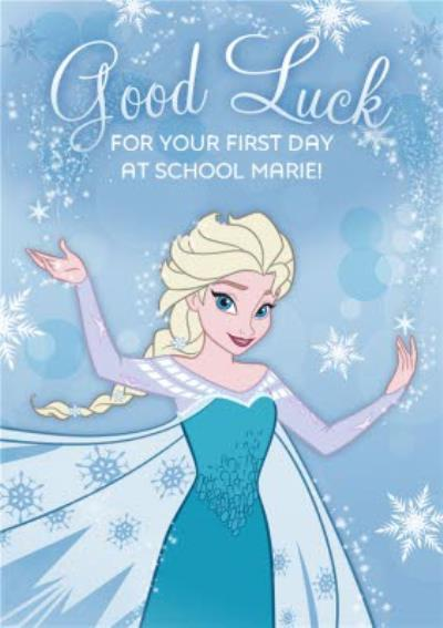 Disney Frozen Good Luck First Day At School Personalised Card