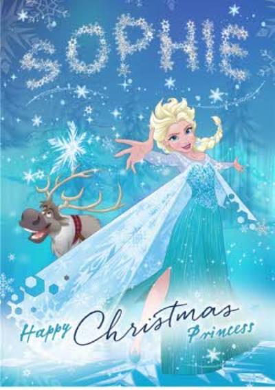 Disney Frozen Christmas Elsa Personalised Card
