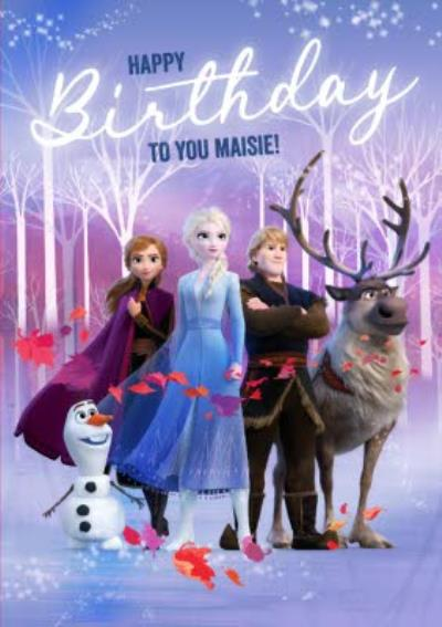 Disney Frozen 2 Elsa Anna Kristoff Sven Birthday Card