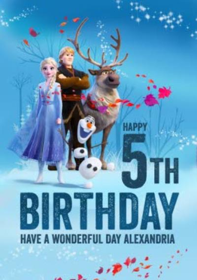 Disney Frozen 2 Elsa Anna Kristoff Sven Olaf 5th Birthday Card