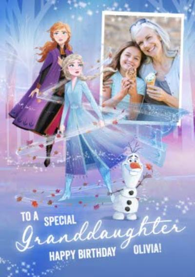 Disney Frozen 2 Elsa Anna Granddaughter photo upload Birthday Card