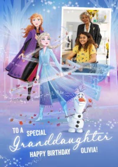Disney Frozen 2 Elsa Anna Granddaughter photo upload Birthday Card