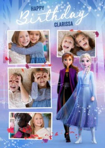 Disney Frozen 2 Anna Elsa multiple photo upload Birthday Card
