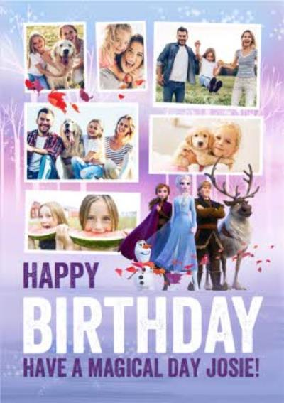 Disney Frozen 2 Characters Multi Photo Upload Birthday Card