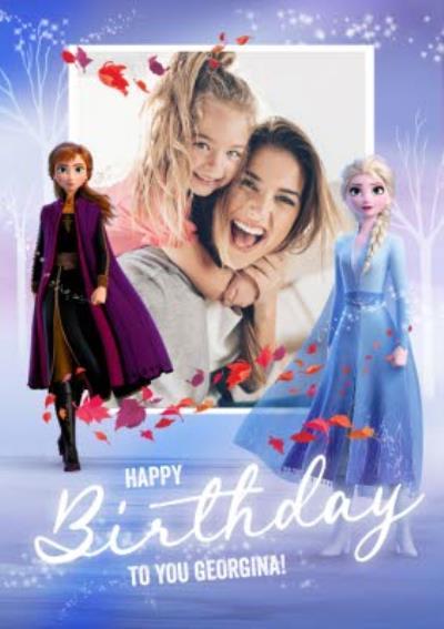 Disney Frozen 2 Anna and Elsa photo upload Birthday Card