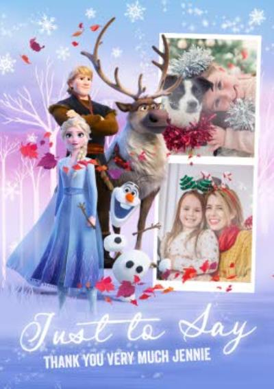 Disney Frozen 2 Just to say thank you Photo Upload Christmas Thank you Card