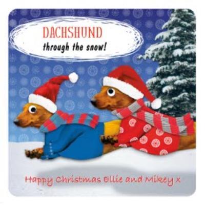 Daschund Christmas Card