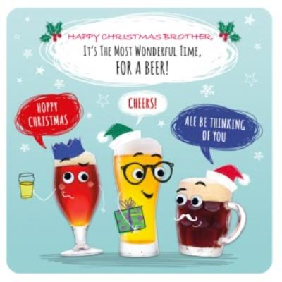 Wonderful Time For A Beer Personalised Christmas Card