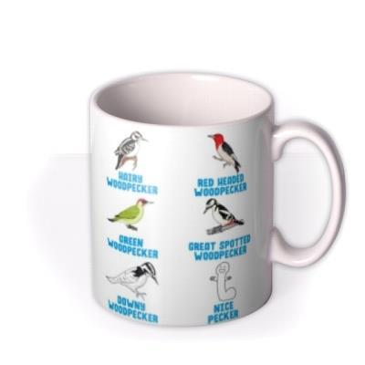 Funny Illustrations Various Birds Woodpecker Nice Pecker Mug