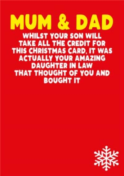 Mum and Dad In Law Daughter Funny Christmas Card
