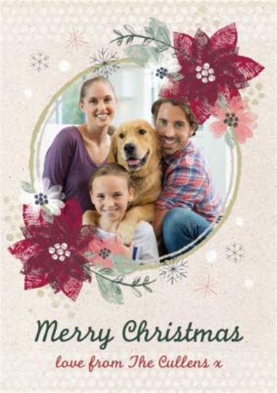 Christmas Flower Border Personalised Family Photo Upload Merry Christmas Card