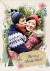 Neutral Festive Border Personalised Photo Upload Merry Christmas Card