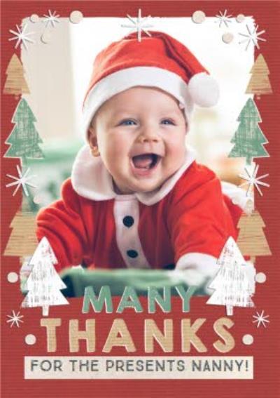 Many Thanks Christmas Photo Upload Card