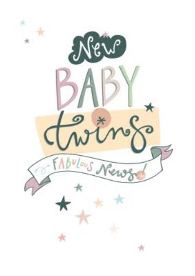 New Baby Twins Fabulous News Card