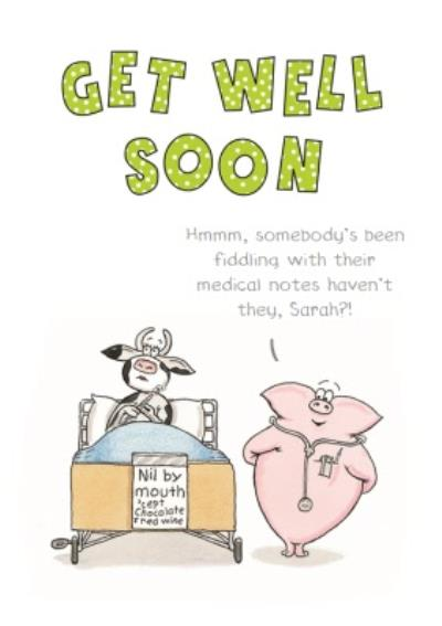 Cow And Pig Cartoon Funny Personalised Get Well Soon Card