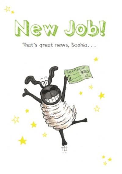 Funny Sheep And Stars Personalised New Job Card