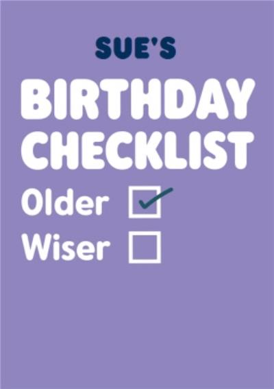 Typographical Funny Birthday Check List Card