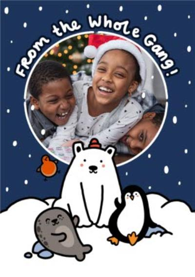 Polar Bear and Penguin From All Of Us Photo Upload Christmas Card