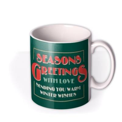 Geometric Baubles Seasons Greetings Christmas Mug
