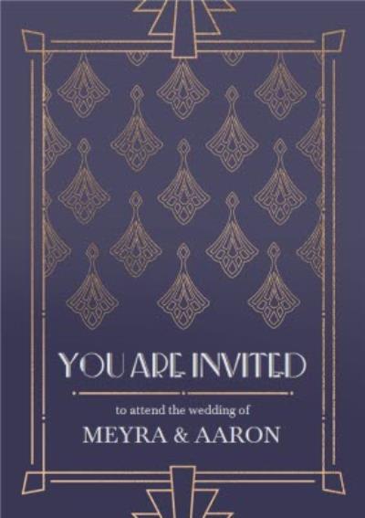 Art Deco Geometric Pattern Wedding Invitation Card