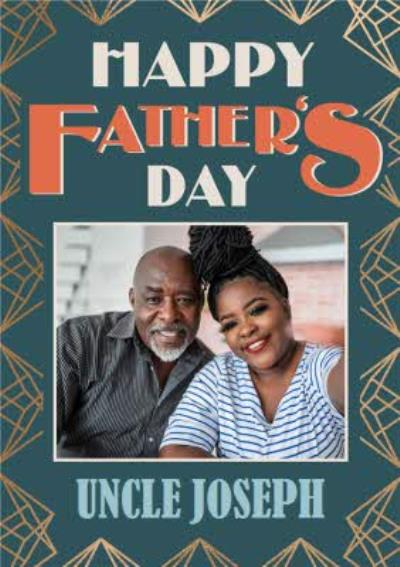 Art Deco Gold Pattern Happy Father's Day Photo Upload Card