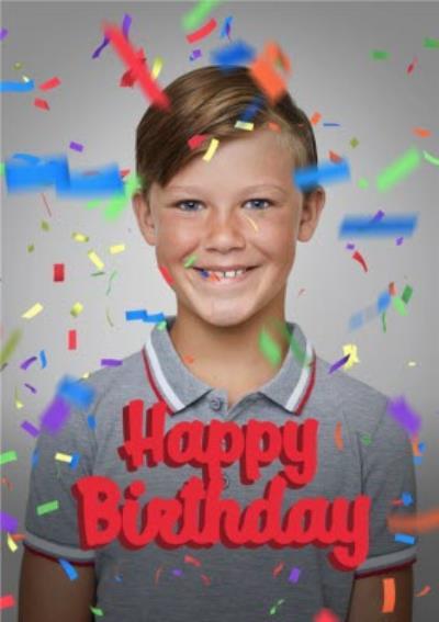 Happy Birthday Confetti Photo Upload Card