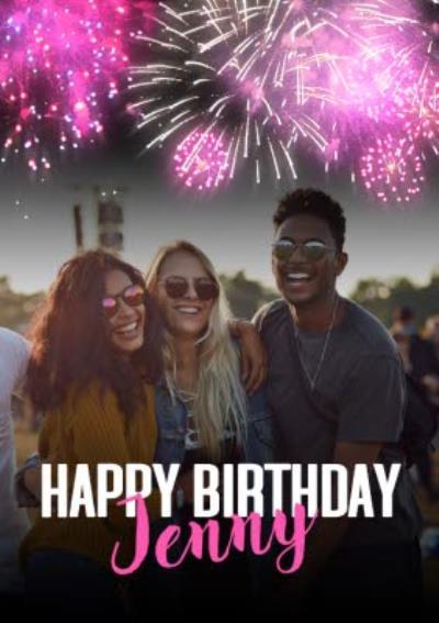 Happy Birthday Fireworks Photo Upload Card