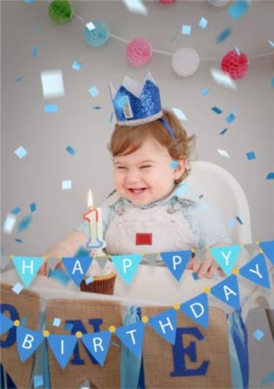 Happy Birthday Blue Bunting And Confetti Photo Upload Card