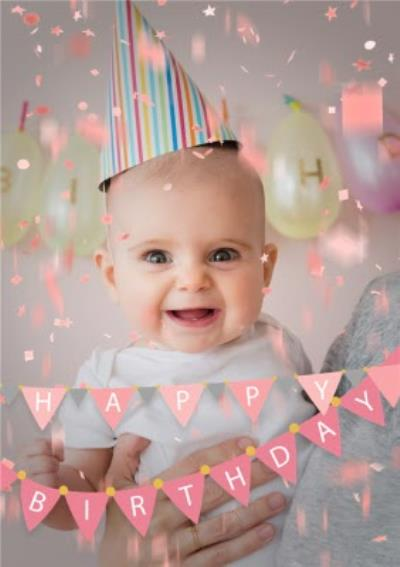 Happy Birthday Pink Bunting And Confetti Photo Upload Card